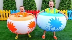 ولاد و نیکیتا  ؛ بازی هیجان انگیز با اسباب بازی ها در بیرون خانه