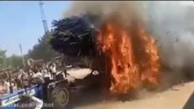 آتش گرفتن بار ذرت تراکتور به خاطر برخورد با سیم برق فشار قوی