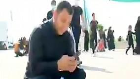 حرکت عجیب و زیبای خبرنگار عراقی در مسیر کربلا به نیابت از ايرانی ها