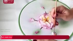 روبان دوزی | دوخت گل شکوفه همراه با برگ