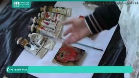 نقاشی آبستره گل لاله رو کاشی ( ساخت قاب با سیمان )