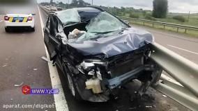 تصادف با کامیون بر اثر خواب آلودگی راننده پشت فرمان