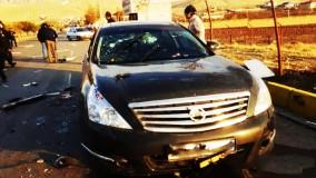 خودروی شهید فخری زاده پس از گلوله باران شدید تروریستها