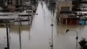 حجم سیلاب در شهر جراحی ماهشهر خوزستان