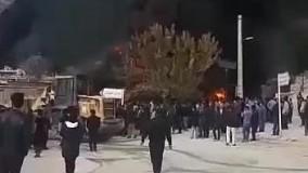 آتش سوزی به دنبال شکستن لوله نفت در میانکوه