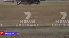 یک جنگنده F۱۸ پیش از اینکه از زمین بلند شود سقوط کرد