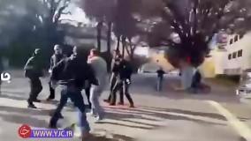لحظه درگیری وحشیانه طرفداران و مخالفان ترامپ در خیابان