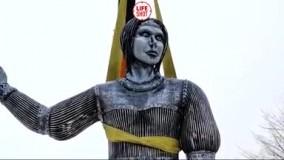 مجسمه «آلیونکا» زن افسانهای روس که به دلیل ترسناک بودن پس از نصب جمع آوری شد !