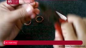 نحوه ساخت حلقه دخترانه با سیم مفتول و مهره کریستالی