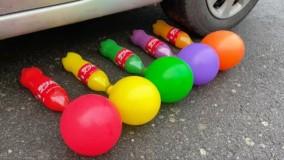 خرد کردن چیز های ترد و نرم : ماشین در مقابل کوکاکولا همراه بادکنک