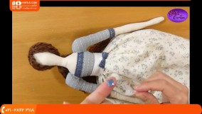 نحوه دوخت مو با نخ کاموا برای عروسک تیلدا