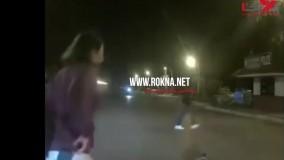 لحظه نجات گربه از چنگ مار در وسط جاده