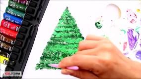 نقاشی با رنگ اکریلیک : طراحی درخت کریسمس در یک روز زمستانی