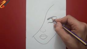 کشیدن چهره دختر با مداد - سیاه قلم