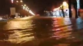 آب گرفتگی خیابان ها در شهرهای استان لرستان
