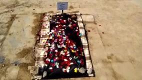 عکس و فیلم با صدا و توضیحات، از آرامگاه الهام شیخی ۲۳ ساله