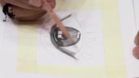آموزش سیاه قلم هایپررئال چشم