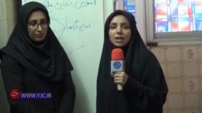استفاده معلم خوزستانی از یخچال به جای تخته وایت برد برای آموزش!