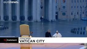 مراسم دعای پاپ در محوطه خالی واتیکان