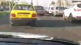 فرار عجیب یک نیسان از تب سنجی در جاده ملارد !