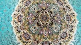فرش کاشان فرش هالیدی آبی فرش مارکت 1200 شانه