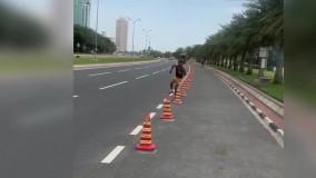 تمرینات رامین رضاییان در خیابانهای دوحه