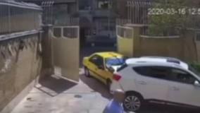 تصادف عجیب و تلخ یک تاکسی در خیابان سمیه تهران