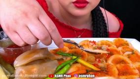 چالش صداي غذا _ خوردن غذاهای کًره ای