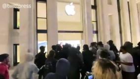 تخریب فروشگاه اپل در واشنگتن توسط معترضین به قتل جروج فلوید