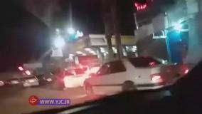 صف طولانی پمپ بنزین بعد از زلزله در تهران