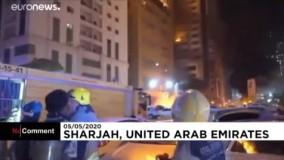 برج مسکونی ۴۸ طبقه در امارات که سراپا آتش شد