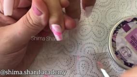 آموزش طراحی ناخن به روش ماربل با دست _ آکادمی ناخن شیما شریف