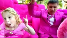 ناستیا و استیسی | استیسی و بابایی با لباس صورتی در مهمانی | Like Nastya Show