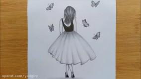آموزش نقاشی سیاه قلم دختر و پروانه ها