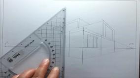 طراحی ساده نمای ساختمان در پرسپکتیو دو نقطه ای (2)