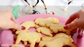 درست کردن شیرینی های بیسکویتی به شکل اسب برای بچه ها