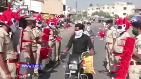رفتارهای عجیب و غریب پلیس هند برای کنترل کرونا