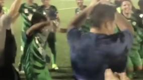 رقص بازیکنان چوکای تالش بعد از صدرنشینیِ لیگ دو