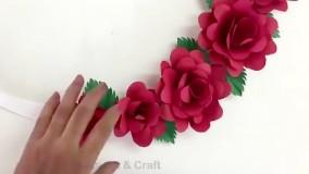 کار دستی با کاغذ رنگی آویز دیواری گل و پروانه
