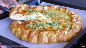 آموزش درست کردن پیتزا با سیر و پنیر