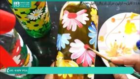 آموزش نقاشی روی بطری شیشه ای با آبرنگ