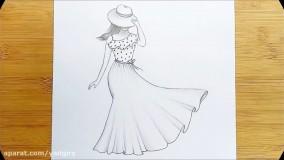 آموزش نقاشی سیاه قلم دختر و باد