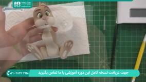 ساخت خرگوش نشسته و قلم مو با خمیر فیمو