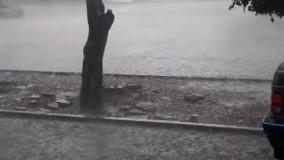 صبح امروز، بارش شدید تگرگ در تبریز