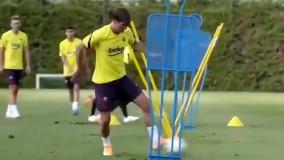 مهارت بازیکنان جدید بارسلونا در تمرین امروز یکشنبه !