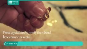 آموزش تصویری ساخت گوشواره با نگین زیبا