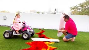 دیانا و روما بازی های سرگرم کننده ای را با پدر انجام می دهند جدید