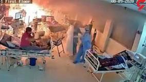 آتش گرفتن بخش آی سی یو محل بستری بیماران کرونایی