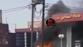 آتش سوزی وحشتناک خودرو در پمپ بنزین اهواز