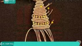 نحوه ی بافت دستبند مکرومه مارپیچی همراه با مهره